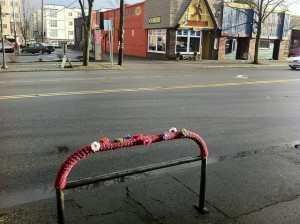 yarn bombing in West Seattle