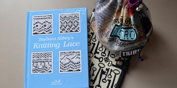 lace book, knitting project bag