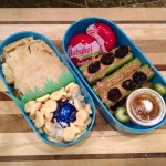 Second #bento attempt: samosa casserole, goldfish crackers, Babybel cheeses, ants…