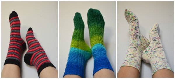 collage of handknit socks