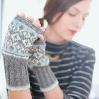 woman wearing Frost Flowers mitts