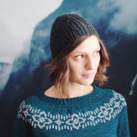 Dianna Walla modeling Polar Night sweater and Cloud Pine hat